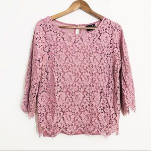 Rafaella Lace Long Sleeve Top Size medium